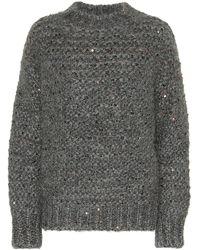 Brunello Cucinelli Pullover in misto mohair con paillettes - Grigio
