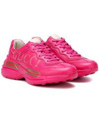 Gucci - Sneakers Rhyton in pelle - Lyst