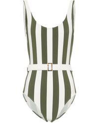 Solid & Striped The Anne Marie Belted Striped One-piece Swimsuit - Green