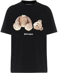 Palm Angels T-shirt in cotone con stampa - Nero
