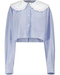 Miu Miu Blusa de popelín de algodón - Azul