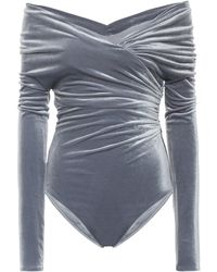 Alexandre Vauthier Off-the-shoulder Velvet Bodysuit - Gray