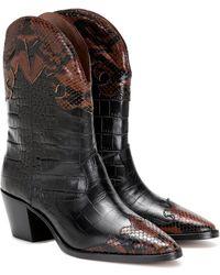 Paris Texas Snake-effect Leather Cowboy Boots - Black
