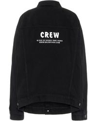 Balenciaga Veste en jean Crew à logo - Noir