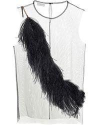Dries Van Noten Feather-trimmed Chiffon Top - Black