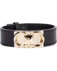 Ferragamo Armband Gancini aus Leder - Schwarz