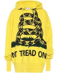 Vetements Snake-print Cotton Sweatshirt - Yellow