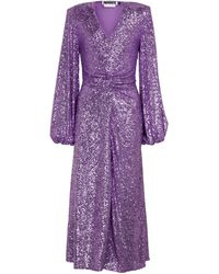 ROTATE BIRGER CHRISTENSEN Sirin Sequined Midi Dress - Purple