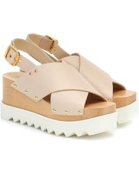 Stella McCartney Crisscross Platform Slingback Sandals - Natural