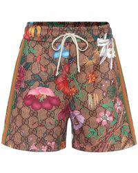 Gucci Gg Supreme & Floral Print Jersey Shorts - Multicolour