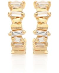 Suzanne Kalan 18kt Gold Diamond Hoop Earrings - Metallic