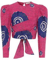 Ulla Johnson Eden Printed Cotton Wrap Crop Top - Multicolour