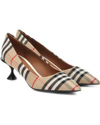 Burberry 55mm Lillyton Check Cotton Court Shoes - Natural