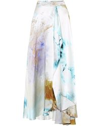 ROKSANDA Zinja Printed High-rise Silk Skirt - Blue