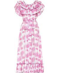 Gül Hürgel Bedrucktes Midikleid aus Leinen - Pink