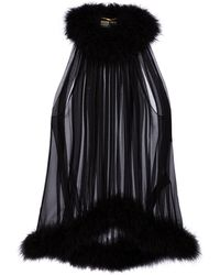 Saint Laurent Top de crepé de seda con plumas - Negro
