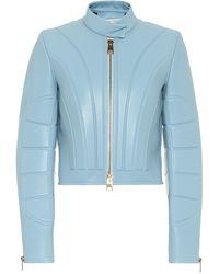 Bottega Veneta Cropped Leather Jacket - Blue
