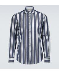 Brunello Cucinelli Chemise rayée en coton - Bleu