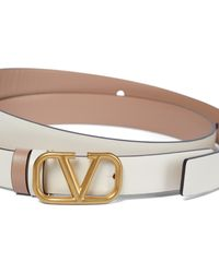 Valentino Garavani Vlogo Leather Belt - White