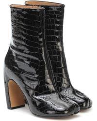 Maison Margiela Ankle Boots Tabi aus Lackleder - Schwarz