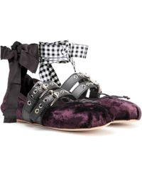 Miu Miu Velvet Ballerinas - Purple