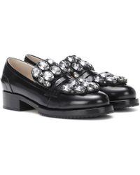 N°21 Crystal-embellished Leather Loafers - Black