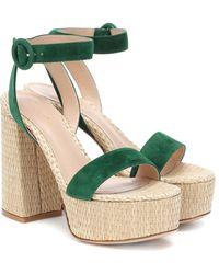 Gianvito Rossi Suede And Raffia Platform Sandals - Green
