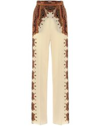 Etro Wide-leg Printed Silk Pants - White