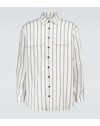 King & Tuckfield Gestreiftes Oversize-Hemd - Weiß