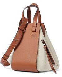 Loewe Paula's Ibiza Hammock Small Leather And Canvas Shoulder Bag - White