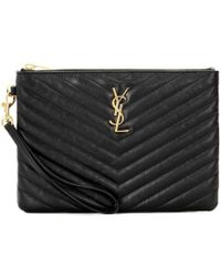 "Saint Laurent Busta ""monogram"" In Pelle Trapuntata - Nero"