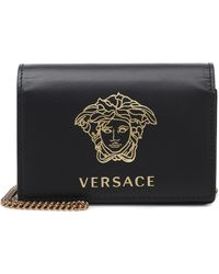 Versace Medusa Small Leather Shoulder Bag - Black