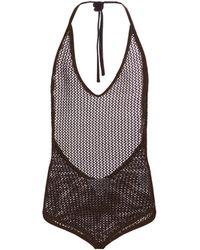 Bottega Veneta Halterneck Cotton-blend Bodysuit - Brown