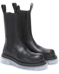 Bottega Veneta Tire Leather Chelsea Boots - Black