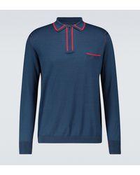 Maison Margiela Long-sleeved Cotton Polo Shirt - Blue