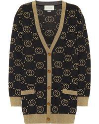 Gucci Wool-blend GG Intarsia Cardigan - Black