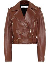 JW Anderson Cropped Leather Biker Jacket - Brown