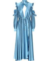 Off-White c/o Virgil Abloh Flared Long Dress - Blue