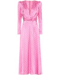 Alessandra Rich Polka-dot Silk-satin Midi Dress - Pink