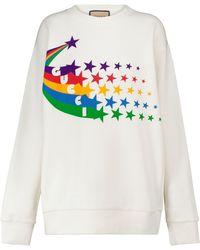 Gucci Bedrucktes Sweatshirt aus Baumwoll-Jersey - Weiß