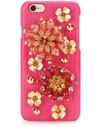Dolce & Gabbana - Embellished Leather Iphone 6 Case - Lyst