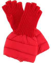Moncler Quilted Wool-trim Gloves - Red