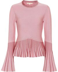 Jonathan Simkhai Pleated Sweater - Pink