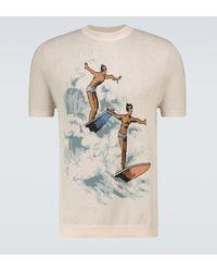 CASABLANCA Les Garçons Jacquard Knitted T-shirt - Natural