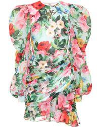 Richard Quinn Floral Chiffon Minidress - Multicolour