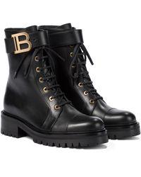 Balmain Ranger Romy Leather Combat Boots - Black