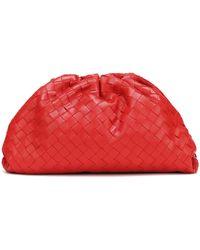 Bottega Veneta Clutch The Pouch piel intrecciato - Rojo