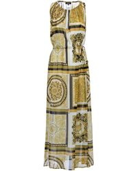 Versace Vestido largo Barocco Mosaic de seda - Metálico