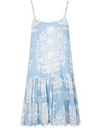 Juliet Dunn Robe en coton à fleurs - Bleu