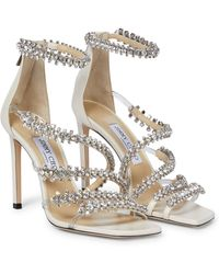 Jimmy Choo Josefine 100 Embellished Leather Sandals - White
